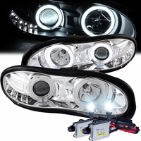 HID Xenon + 98-02 Chevy Camaro CCFL Angel Eye Halo & LED DRL Projector Headlights - Chrome