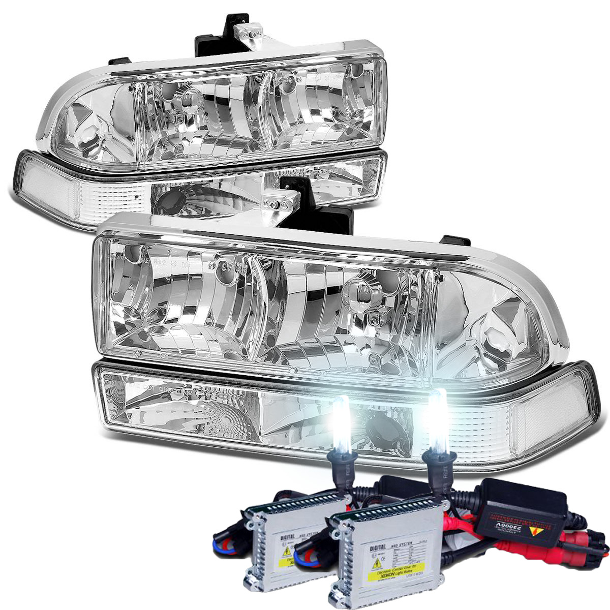 hid xenon 98 04 chevy s10 blazer euro style crystal headlights bumper parking lens chrome. Black Bedroom Furniture Sets. Home Design Ideas