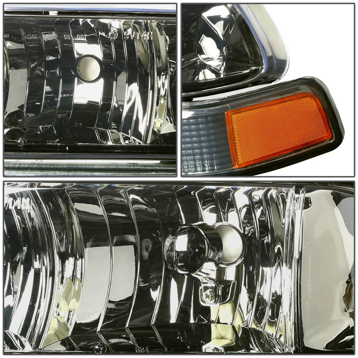 Hid xenon 98 04 chevy s10 blazer replacement crystal headlights smoked amber