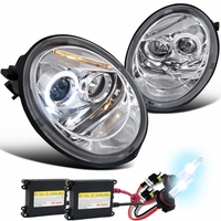 HID Xenon + 98-05 Volkswagen Beetle Angel Eye Halo & LED Strip Projector Headlights - Chrome
