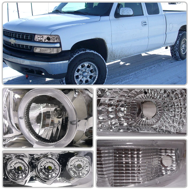 hid xenon 99 02 chevy silverado 00 06 suburban tahoe eye halo led projector headlights