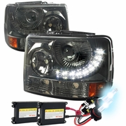 HID Xenon + 99-02 Chevy Silverado 1PC LED DRL Projector Headlights Smoked
