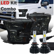 LED Kit + 2015-17 Ford F150 Pickup Crystal Replace Headlights - Smoked