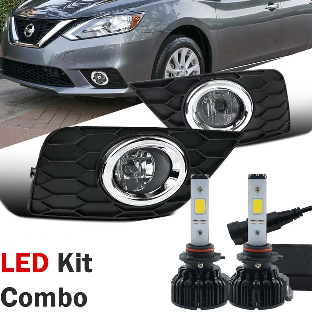 led kit 2016 17 nissan sentra front bumper fog lights kit clear