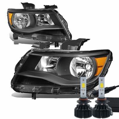 LED Low Beam + 15-17 Chevy Colorado Replacement Crystal Headlights - Black / Amber