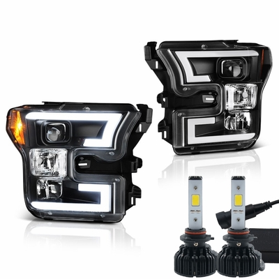 LED Low Beam + Spyder 2015-16 Ford F150 LED DRL Tube Projector Headlights - Black