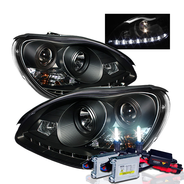 Hid xenon 00 05 mercedes benz s class w220 led drl for Mercedes benz projector lights