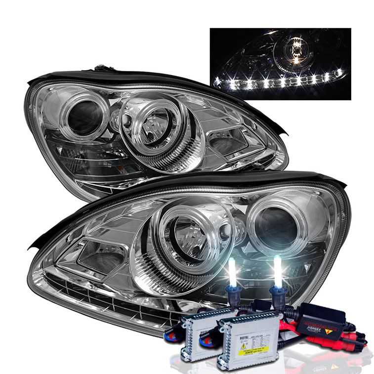 Mercedes benz w220 s class 00 06 drl led projector for Mercedes benz projector lights