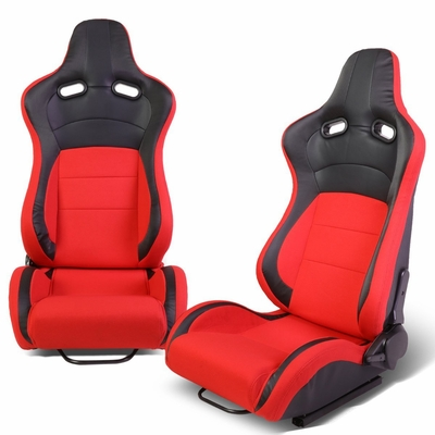 Pair of Universal Black PVC Leather Red Woven Fabric Reclinable Racing Seats + Adjustable Slider