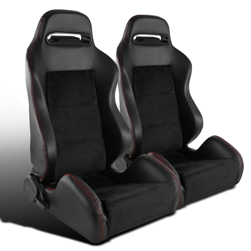 Pair Suede Black PVC Leather Red Stitching Racing Seats