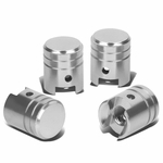 Piston Style Polished Aluinum Silver Tire Vavle Stem Caps (Pack of 4)