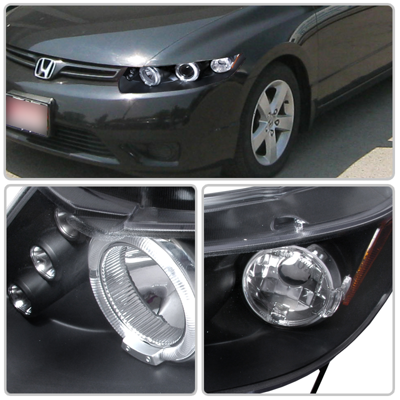 06 11 honda civic coupe fg angel eye halo led projector. Black Bedroom Furniture Sets. Home Design Ideas