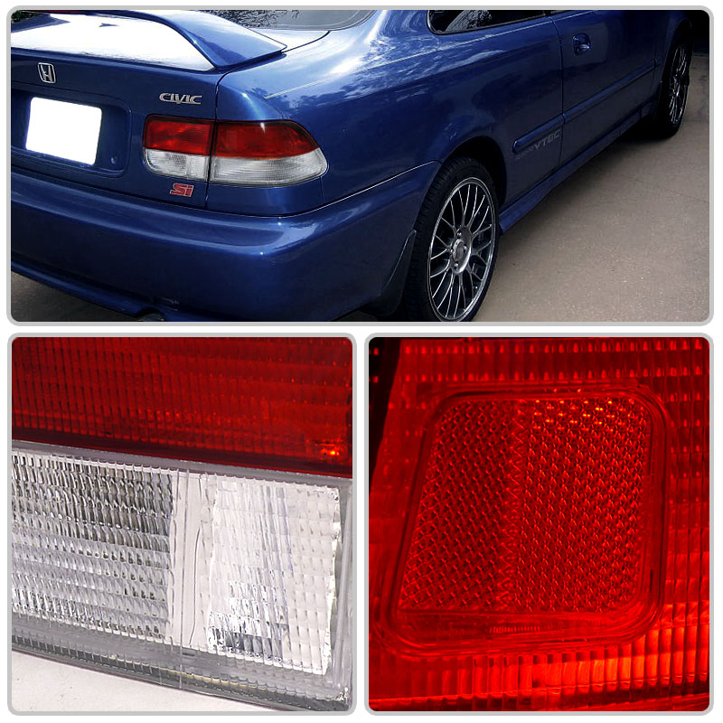 96 00 honda civic 2dr coupe jdm style red clear tail lights