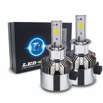 T1 LED Headlight Conversion Kit with Adjustable Beam Pattern - H3 - Seoul CSP Y19 Chip - 72W, 7200LM 6K Cool White