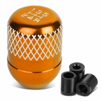 Universal 5-Speed Orange Anodized Aluminum Netted Racing Shift Knob