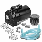 Universal Aluminum Dual Chamber Filter Reservoir Breather Baffled Oil Catch Tank Black