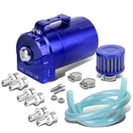 Universal Aluminum Dual Chamber Filter Reservoir Breather Baffled Oil Catch Tank Blue