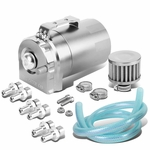 Universal Aluminum Dual Chamber Filter Reservoir Breather Baffled Oil Catch Tank Silver