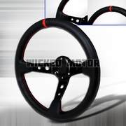 Universal Deep Dish Style Steering Wheel 320Mm - Black/ Red stitches
