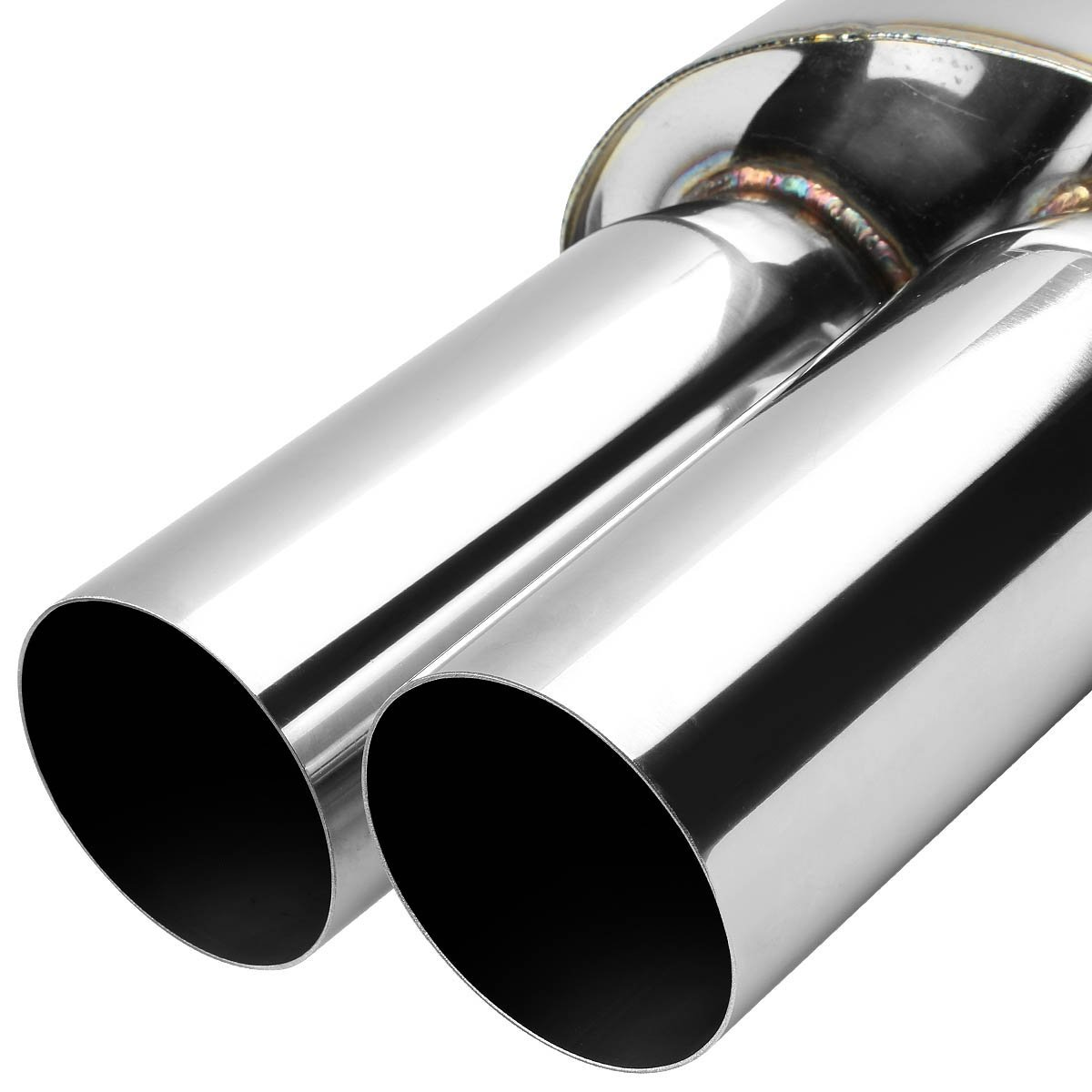 Universal dual tip stainless steel exhaust muffler quot inlet