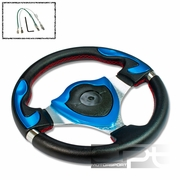 UNIVERSAL PVC LEATHER 32CM RACING STEERING WHEEL BLACK/BLUE DECOR SHIELD CENTER