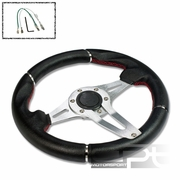 UNIVERSAL PVC LEATHER 32CM RACING STEERING WHEEL SHIELD CENTER SILVER DECORATION
