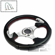 UNIVERSAL PVC LEATHER ALUMINUM 32CM RACING STEERING WHEEL BLACK/SILVER THUMBREST