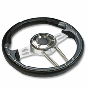 UNIVERSAL PVC LEATHER ALUMINUM 33CM RACING STEERING WHEEL BLACK/SILVER/CARBON
