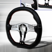 Universal Technic Style Steering Wheel 350Mm - Black / Silver Red Stitches