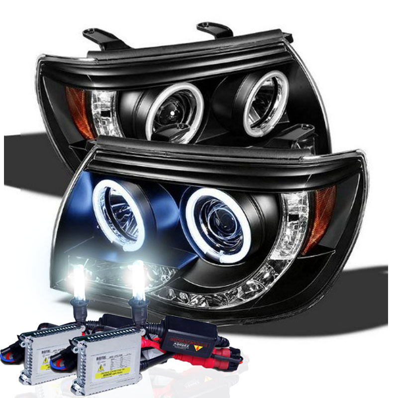 Xenon hid kit 05 11 toyota tacoma halo led projector headlights xenon hid kit 05 11 toyota tacoma halo led projector headlights black publicscrutiny Image collections
