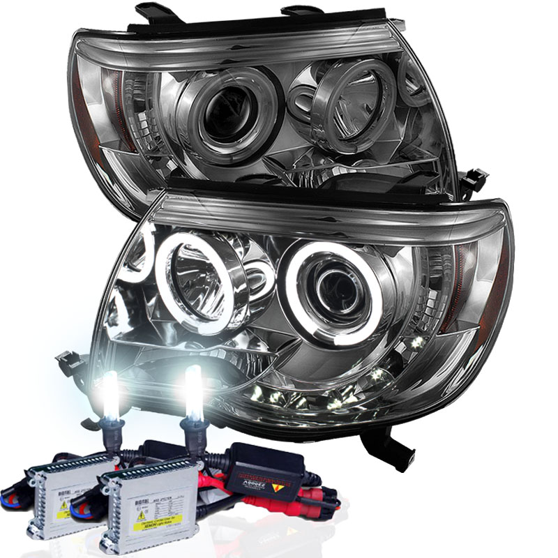 Xenon hid kit 05 11 toyota tacoma halo led projector headlights xenon hid kit 05 11 toyota tacoma halo led projector headlights smoked publicscrutiny Image collections