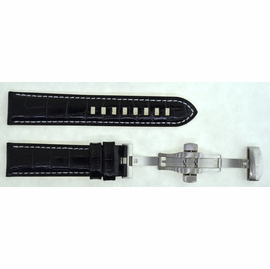 22mm BLACK Croco Leather Strap with SS Push button Deployant buckle