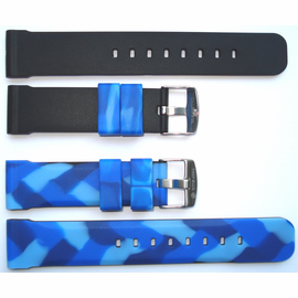 "22mm Blue Camo Reversible Strap ""Deep Blue "" Logo On buckle"