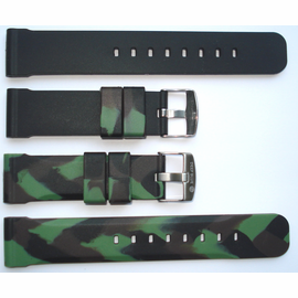 "22mm Green Camo Reversible Strap ""Deep Blue "" Logo On buckle"