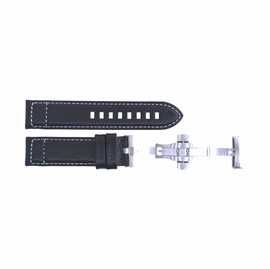 22mm Pilots Leather Strap with SS Push button Deployant buckle