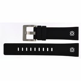 22mm Silicon Strap BLACK with WHITE  logo