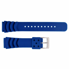 "22mm Silicon Vent Blue Dive Strap ""Deep Blue"" Logo on buckle"
