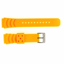 "22mm Silicon Vent Yellow Dive Strap ""Deep Blue"" Logo on buckle"