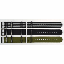 "22mm ""ZUTO"" Ballistic Nylon 2 pc 3 Square Ring Strap PVD HARDWARE"