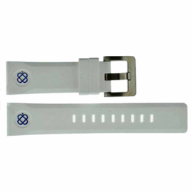 24mm Soft Silicon Strap WHITE with BLUE logo