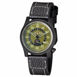 "AIR BLUE ""PAPA"" PRAESTO  PILOT WATCH PVD -GREEN DIAL- SOLD OUT"