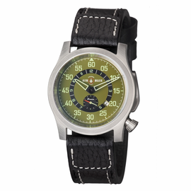 "AIR BLUE ""PAPA"" PRAESTO  PILOT WATCH SS- GREEN DIAL"