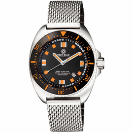 ALL NEW DEEP STAR 1000  SWISS AUTOMATIC BRACELET– DIVER BLACK/ORANGE BLACK/ORANGE