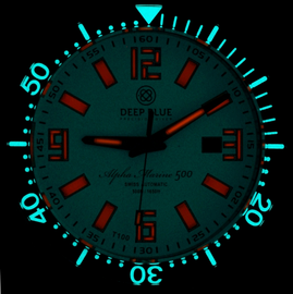 ALPHA MARINE 500 T-100 TRITIUM SWISS AUTOMATIC Lume dial and Tubes