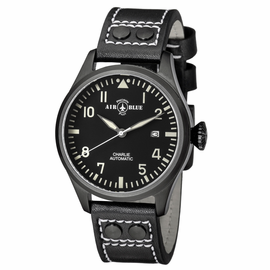 CHARLIE AUTOMATIC PVD BLACK CASE BLACK WHITE  DIAL