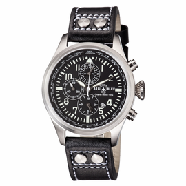 CHARLIE WORLD TIMER  STAINLESS CASE BLACK WHITE  DIAL