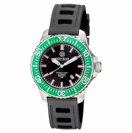 DAYNIGHT DIVER T-100 AUTOMATIC – SS GREEN/BLACK DIVER WITH HYDRO 91 RUBBER STRAP