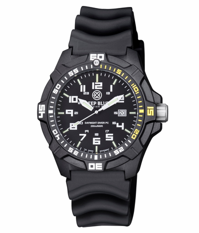 Daynight pc tritium diver watch black 1 4 yellow sold out for Tritium dive watches