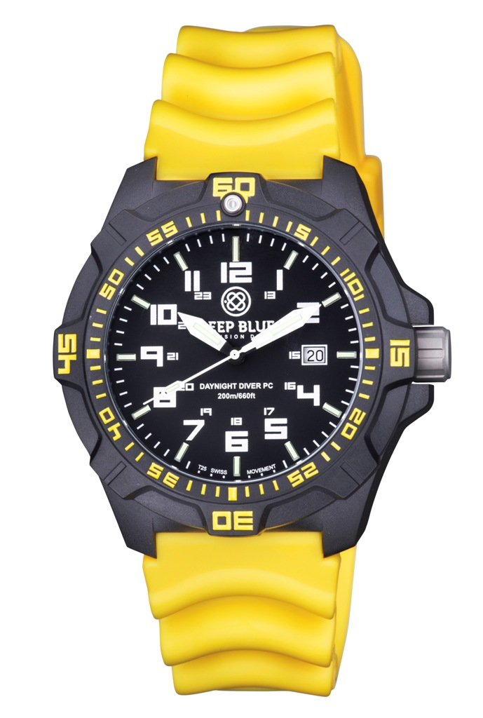 Daynight pc tritium diver watch black yellow sold out for Tritium dive watches