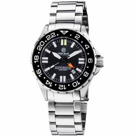 DAYNIGHT RESCUE GMT T-100 SWISS AUTOMATIC ETA 2893-2 BLACK BEZEL- BLACK DIAL WHITE HANDS